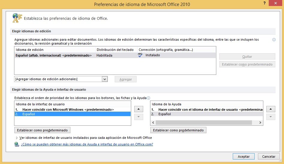 Descargar idiomas Office 2010
