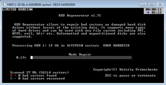 Reparar sectores dañados con HDD Regenerator
