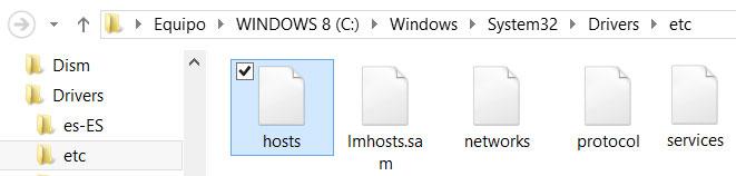 Ubicación del archivo hosts en Windows