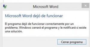 Microsoft Word 2013 dejó de funcionar